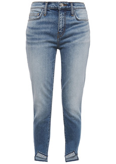 Current/elliott Woman The Turnt Stiletto Cropped Studded Mid-rise Skinny Jeans Mid Denim