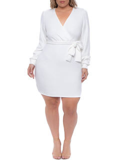 Curvy Sense Long Sleeve Wrap Dress