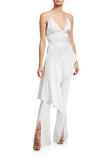 Cushnie Cascading Jersey Tunic with Charmeuse Panel