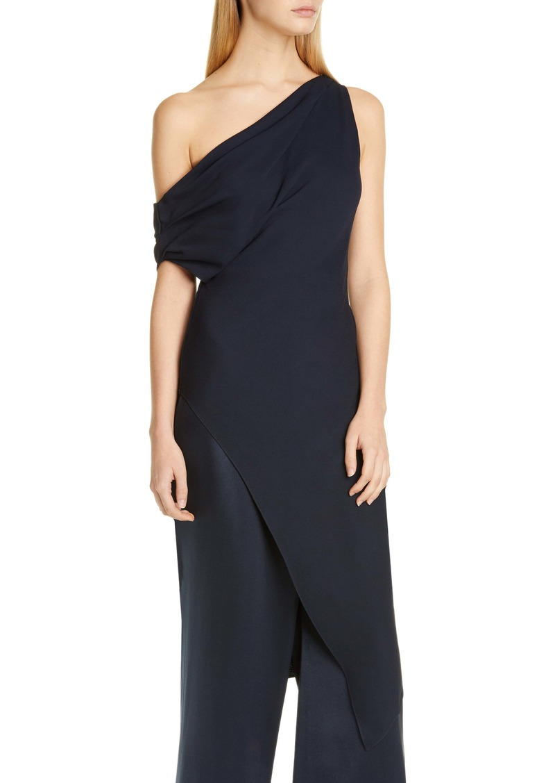 CUSHNIE One-Shoulder Draped Tunic Dress