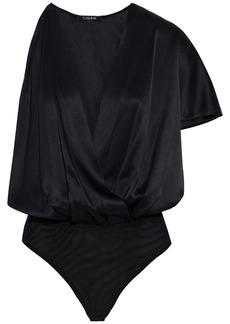 Cushnie Woman One-sleeve Wrap-effect Cutout Silk-charmeuse Bodysuit Black