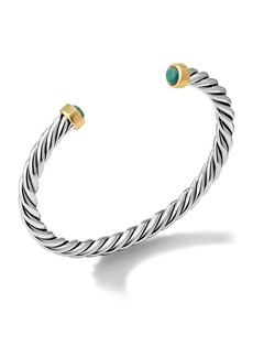 David Yurman Cable Classic Sterling Silver, 18K Yellow Gold & Chinese Turquoise Cuff Bracelet