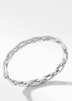 David Yurman Stax Chain Link Bracelet in 18K White Gold with Diamonds