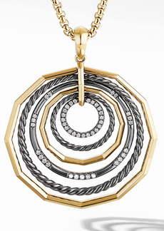 David Yurman Stax Large Pendant in Blackened Silver and Diamonds