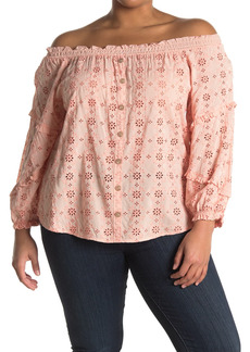 Democracy 3/4 Off The Shoulder Ruffle Blouse