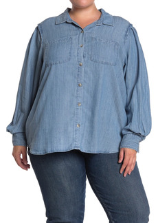 Democracy Chambray Blouson Sleeve Button Front Shirt