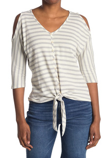 Democracy Cold Shoulder Button Up Top