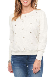 Democracy Faux Pearl Embellished Crew Neck Sweater