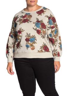 Democracy Floral Print Embellished Stud Sweatshirt