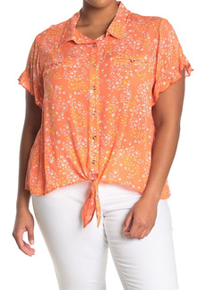 Democracy Floral Ruffled Short Sleeve Tie Front Top