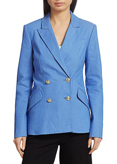 Derek Lam Rodeo Double-Breasted Stretch-Silk Jacket