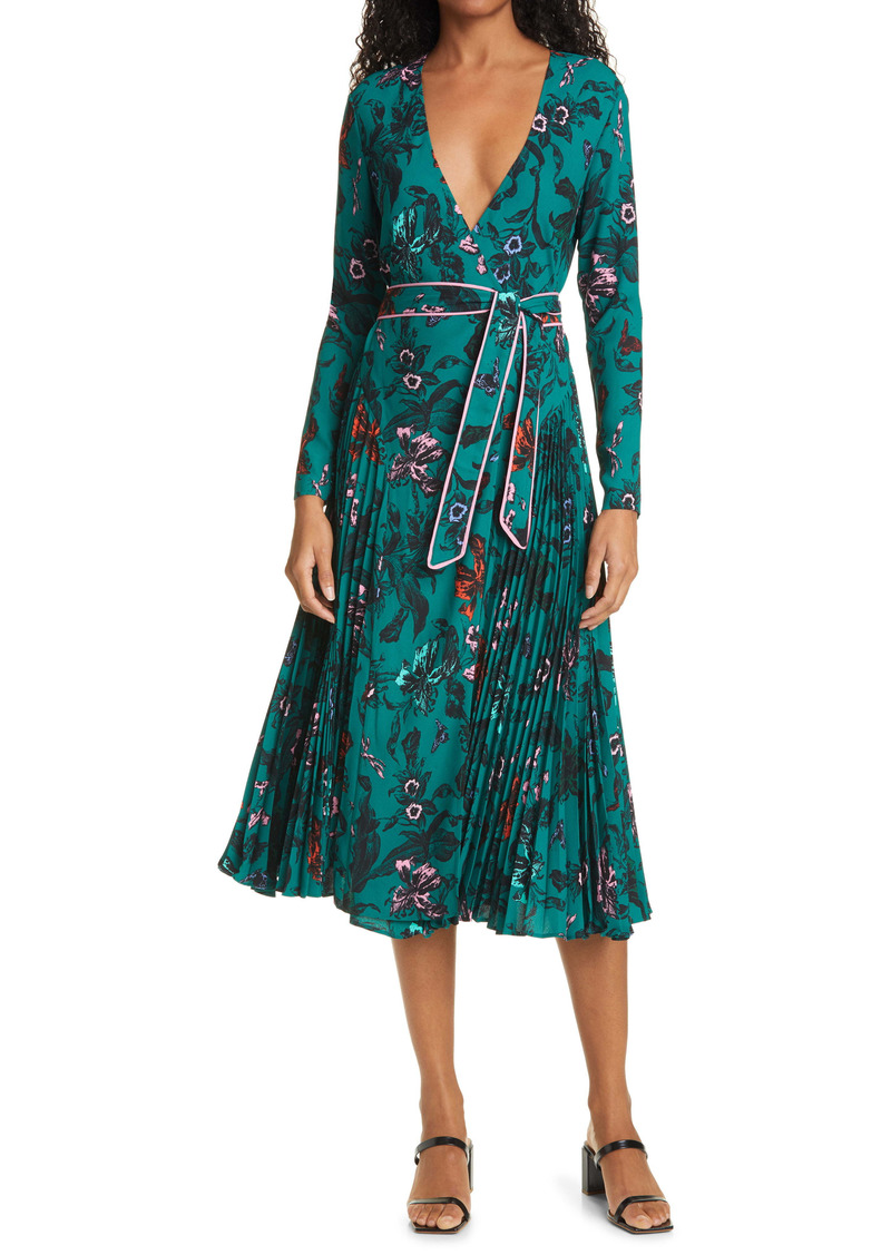 Diane von Furstenberg Amiya Print Long Sleeve Wrap Dress