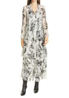 Diane von Furstenberg Floral Tiered Long Sleeve Silk Dress