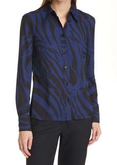 Diane von Furstenberg Samson Zebra Print Button-Up Shirt