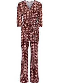 Diane Von Furstenberg Woman Blaire Wrap-effect Printed Silk-jersey Jumpsuit Brick