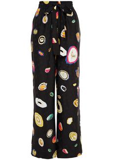 Diane Von Furstenberg Woman Denise Printed Silk-blend Floral-jacquard Wide-leg Pants Black