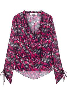 Diane Von Furstenberg Woman Lilian Ruffle-trimmed Floral-print Silk-georgette Blouse Magenta