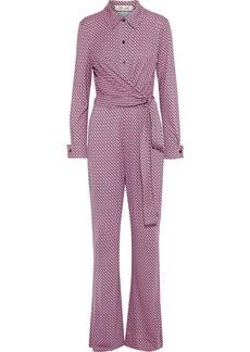 Diane Von Furstenberg Woman Michele Wrap-effect Printed Silk-jersey Jumpsuit Bubblegum