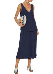 Diane Von Furstenberg Woman Victoire Cropped Crinkled-tencel Culottes Navy