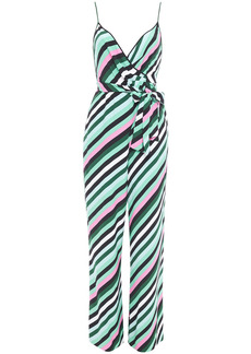 Diane Von Furstenberg Woman Wrap-effect Striped Crepe Jumpsuit Green