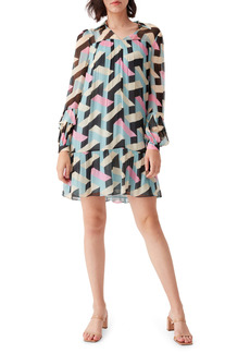 Diane Von Furstenberg DVF Heidi 3D Print Long Sleeve Drop Waist Shift Dress