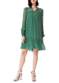 Diane Von Furstenberg DVF Heidi Print Long Sleeve Shift Dress