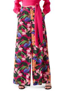 Diane Von Furstenberg DVF Pauline Floral Silk Wide Leg Pants