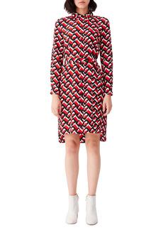 Diane Von Furstenberg DVF Prita Print Long Sleeve Silk Shirtdress