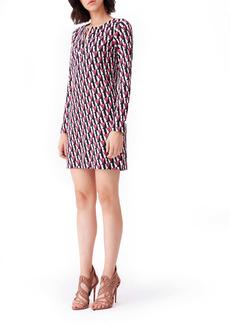 Diane Von Furstenberg DVF Reina Silk Print Long Sleeve Dress