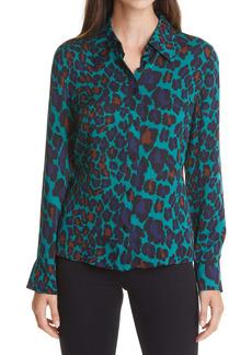Diane Von Furstenberg DVF Samson Leopard Blouse