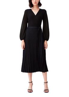 Diane Von Furstenberg DVF Shelley Sparkle Ribbed Long Sleeve Wrap Dress