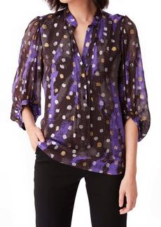Diane Von Furstenberg DVF Syrah Dot Silk Blend Popover Blouse
