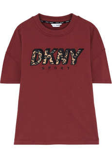 Dkny Woman Appliquéd Embroidered Cotton-blend Fleece Top Brick