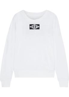 Dkny Woman Appliquéd Cotton-blend Jersey Top White
