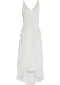 Dkny Woman Asymmetric Belted Chiffon Midi Dress Ivory