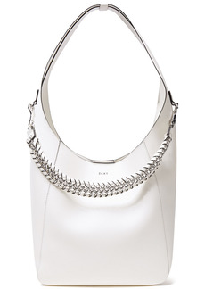 Dkny Woman Bethune Chain-detailed Leather Shoulder Bag White