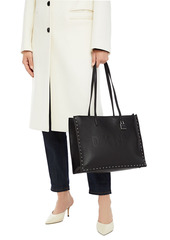 Dkny Woman Commuter Studded Embossed Pebbled-leather Tote Black