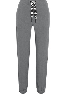 Dkny Woman Cropped Mesh-trimmed Stretch-shell Track Pants Gray