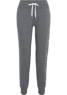 Dkny Woman Embroidered Mélange Cotton-blend Fleece Track Pants Gray