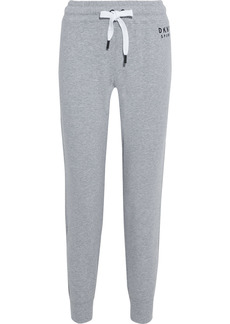 Dkny Woman Embroidered French Cotton-blend Terry Track Pants Light Gray