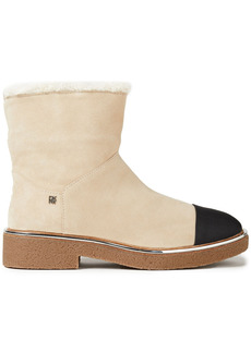 Dkny Woman Fay Faux Shearling-lined Suede Ankle Boots Beige
