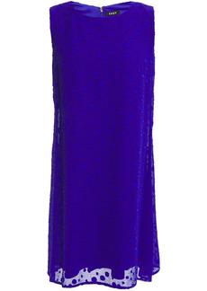 Dkny Woman Fil Coupé Textured-chiffon Mini Dress Bright Blue
