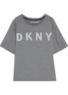 Dkny Woman Glittered Printed Stretch Cotton And Modal-blend Jersey T-shirt Anthracite
