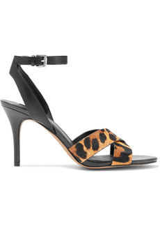 Dkny Woman Ivy Leopard-print Calf Hair And Leather Sandals Black