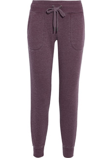 Dkny Woman Mélange Cotton-blend Fleece Track Pants Burgundy