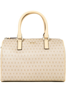Dkny Woman Monogram-print Faux Textured-leather Tote Beige