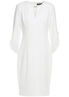 Dkny Woman Pleated Chiffon-trimmed Stretch-crepe Dress White