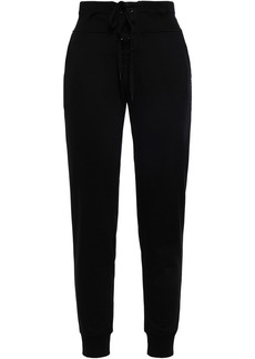 Dkny Woman Lace-up Printed French Cotton-blend Terry Track Pants Black