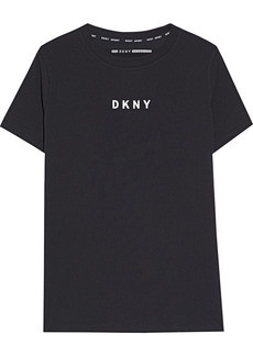 Dkny Woman Printed Stretch Cotton And Modal-blend Jersey T-shirt Black