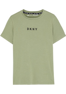 Dkny Woman Printed Stretch-cotton And Modal-blend Jersey T-shirt Green